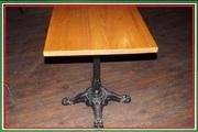 Стол деревянный квадратный с чугунным подстольем б/у